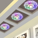 3/5w Sunflower Corridor Flush Mounted Lamp Clear Crystal Modernist LED Ceiling Fixture in Warm/White/Multi-Color Light