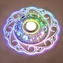 Floral Swirl LED Ceiling Flush Light Contemporary Crystal Clear Flushmount in Purple/Blue/Multi-Color Light, 3/5w