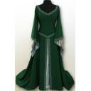 Vintage Girls Dress Printed Bell Long Sleeve V-neck Maxi A-line Dress