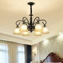 3/8/10 Bulbs White Glass Pendant Lamp Retro Black Ruffled Bedroom Ceiling Chandelier