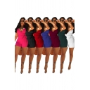 Leisure Women's Rompers Solid Color Wrap Tie Front Spaghetti Strap Sleeveless Fitted Rompers