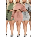 Stylish Womens Set Solid Color Long Sleeve Drawstring Relaxed Fit Crop Hoodie & Mini Tight Skirt Set