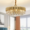 Postmodernism Layers Pendant Chandelier Triangular-Cut Crystal 8/10/16 Heads Bedroom Hanging Light Kit in Gold