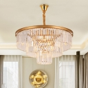 Postmodern 2 Tiers Pendant Light Fixture Clear Crystal 4/5-Light Living Room Chandelier in Black/Gold, Small/Large