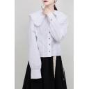 Trendy Women's Shirt Blouse Plain Button Closure Ruffles Peter Pan Collar Long Sleeves Regular Fitted Shirt Blouse