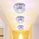 Donut Shaped Flush Ceiling Light Simplicity Crystal Passage LED Flush-Mount Light Fixture in Chrome, Warm/White/Multi-Color Light