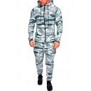 Trendy Mens Co-ords Camo Pattern Contrast Trim Side Pocket Zip Placket Long Sleeves Slim Fitted Hoodie with Long Pants