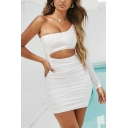 Stylish Womens Bodycon Dress Ruched Solid Color Hollow out One Shoulder Asymmetrical Neck Slim Fitted Short Bodycon Dress