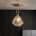 Wine Bottle Pendant Ceiling Light Modern Clear Textured Glass 1 Bulb Dining Room Hanging Lamp in Gold