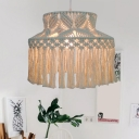 Hand-Knit Roped Barn Shade Pendant Countryside 1 Head Living Room Small/Large Ceiling Hang Light with Fringe in Beige