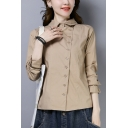Formal Women's Shirt Solid Color Button Closure Turn-down Collar Long Sleeves Regular Fitted Shirt Blouse