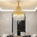 Rustic Curled Hanging Ceiling Light 3/6/7-Bulb Crystal Draping Chandelier in Black/Gold, 12.5