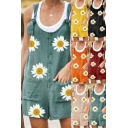 Trendy Women's Romper Daisy Flower Pattern Button Detail Front Pockets Twist Strap Round Neck Sleeveless Relaxed Fit Romper
