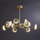 Brass Ring Chandelier Lamp Post-Modern Cut Crystal 8/12/18 Lights Living Room Ceiling Pendant Light
