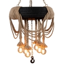 Tyre Beer Bar Ceiling Pendant Farmhouse Natural Rope 5-Bulb Black and Beige Chandelier Light