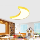 Small/Large Cartoon LED Flushmount Blue/Yellow Crescent Ceiling Light with Acrylic Shade for Kindergarten