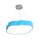 Cloud Kids Bedroom Ceiling Hang Lamp Acrylic Cartoon Style LED Chandelier Pendant in Red/Pink/Yellow