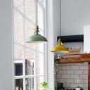 Yellow/Green Barn Pendant Lamp Loft Style Metallic Single Bedside Hanging Lamp with Square-Cutouts Top