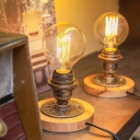 Metal Bronze Night Lamp Exposed Bulb Design 1 Head Industrial Style Table Light with Wood Base