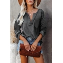 Casual Plain Long Sleeve Deep V-neck Eyelet Details Waffle Panel Chest Pocket Loose Blouse Top for Women