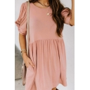Casual Womens Plain Twist Short Sleeve Round Neck Short Swing Dress