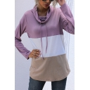 Color Block Long Sleeve Cowl Neck Drawstring Curved Hem Relaxed Pullover Simple Sweatshirt in Purple