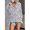 Womens Popular Leopard Patterned Long Sleeve Stand Collar Zip-up Relaxed Fit Pullover Sweatshirt