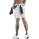 Fancy Men's Gym Shorts Camo Pattern Zip Pocket Elastic Waist Full Lined Regular Fitted Training Shorts