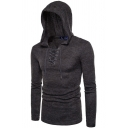 Mens Fashionable Button Decoration PU Patchwork Long Sleeve Slim Fit Pullover Hoodie with Pocket
