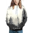 White-gray Hoodie 3D Tree Printed Long Sleeve Drawstring Pouch Pocket Relaxed Leisure Hoodie for Men