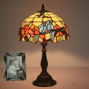 Red 1-Bulb Nightstand Lamp Tiffany Stained Glass Dome Table Light with Bird and Flower Pattern