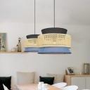 3-Shade Rattan Pendulum Light Novelty Modern 1 Bulb Beige Small/Medium/Large Hanging Pendant over Table