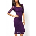 Chic Floral Lace-Up Boat Neck Sheer Half Sleeve Bodycon Midi Dress