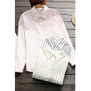 Unique Women's Shirt Blouse Stripe Pattern Button Closure Contrast Panel Chest Pocket Long Sleeves Point Collar Regular Fitted Shirt Blouse
