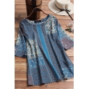 Vintage Womens Shirt Blouse Round Neck Half Sleeves Tribal Pattern Half Sleeves Relaxed Fit Shirt Blouse
