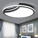 Crescent Bedroom Ceiling Mount Light Metal Minimalist LED Flush Light Fixture with Glow Hoop in Black, Warm/White Light