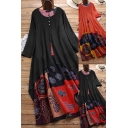 Fancy Women's Dress Patchwork Double-Layered Tribal Print Button Design Round Neck Long-sleeved Regular Fitted A-Line Dress