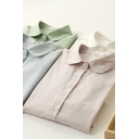 Basic Girls Shirt Solid Color Long Sleeve Turn-down Collar Button Up Relaxed Fit Shirt Top