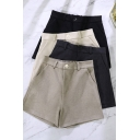 Womens Formal Shorts High Rise Solid Color Relaxed Fit Shorts