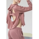 Unique Girls Hoodie Plain Long Sleeve Cut-out Back Slit Sides Relaxed Cropped Hoodie