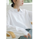 Trendy Women's Shirt Solid Color Button Fly Turn-down Collar Long Bishop Sleeves Regular Fitted Shirt Blouse