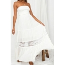 Ladies Amazing White Dress Strapless Hollow Out Ruffled Maxi Pleated A-line Tube Dress