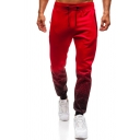 Fancy Men's Pants Ombre Pattern Drawstring Waist Banded Cuffs Ankle Length Jogger Pants