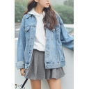 Stylish Womens Jacket Plain Long Sleeve Spread Collar Button Up Flap Pockets Relaxed Denim Jacket in Light Blue