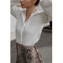 Fancy Women's Shirt Blouse Solid Color Spread Collar Button Fly Long Bishop Sleeves Regular Fitted Shirt Blouse