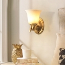 1/2-Light White Glass Sconce Lighting Traditional Gold Finish Bell Shaped Bedroom Wall Mount Lamp