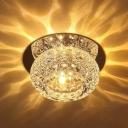 3/5w Mini Donut Foyer Ceiling Lamp Clear Crystal Modern LED Flush Mounted Light in Warm/White/Blue Light