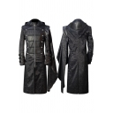Punk Coat Patched Long Sleeve Hooded Zip Up Double Breasted Longline Relaxed Coat in Black