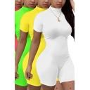 Basic Women's Rompers Plain Mock Neck Short-sleeved Slim Fitted Rompers
