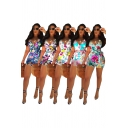 Leisure Women's Romper Floral Pattern Wrap Front Tie Waist Sleeveless Slim Fitted Rompers